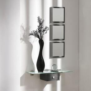 Conjunto Recibidor 3 Espejos + Consola Cristal 66 cm + Cajón
