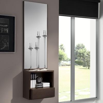 Conjunto Recibidor Espejo + Consola Estante con Cajón
