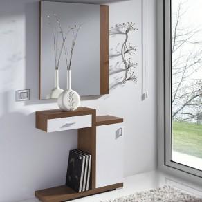 Conjunto Recibidor Espejo + Consola con Cajón y Armario