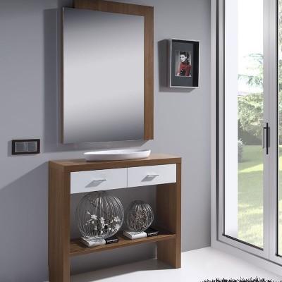 Conjunto Recibidor Consola Doble con 2 Cajones y Balda + Espejo